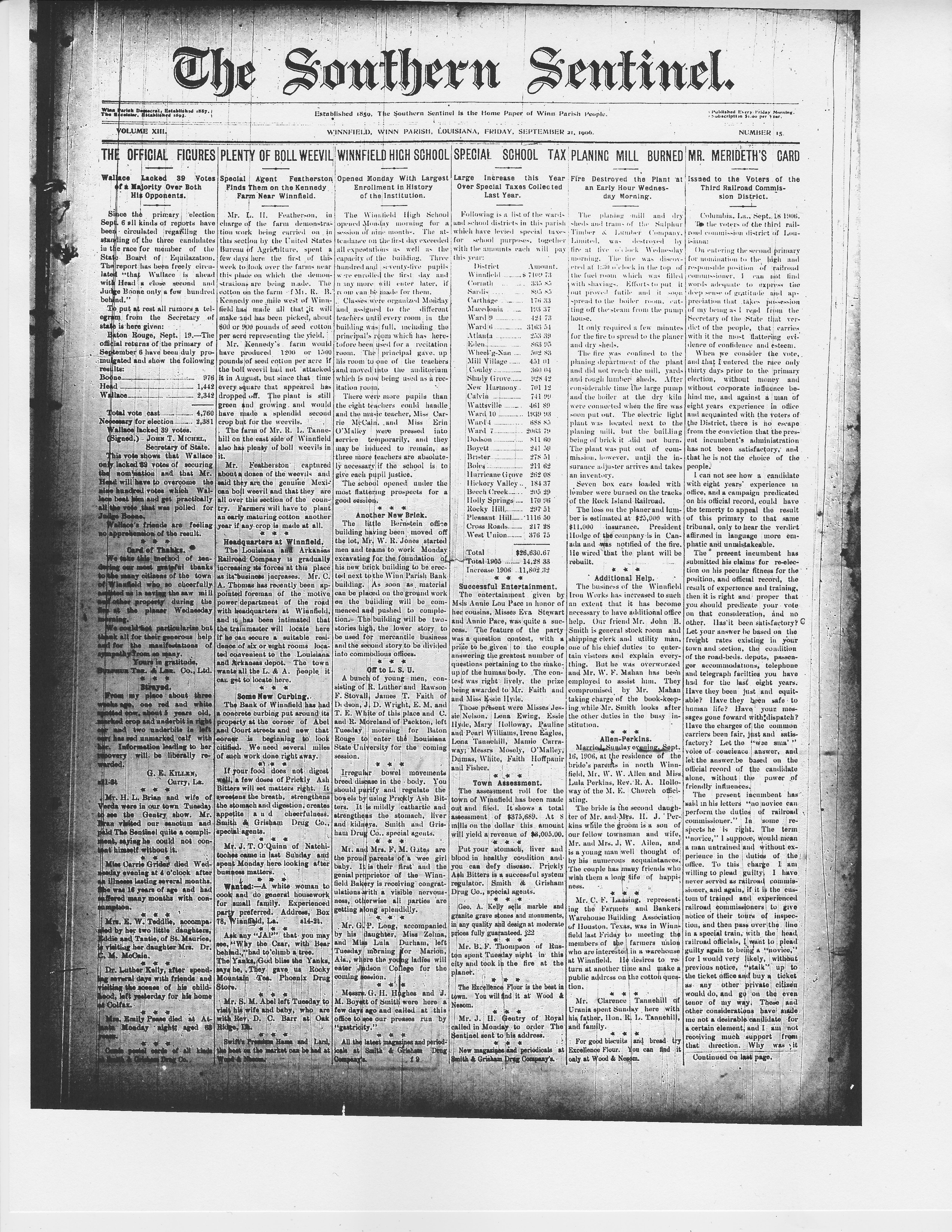 Sept. 21, Planer Burned (1906)