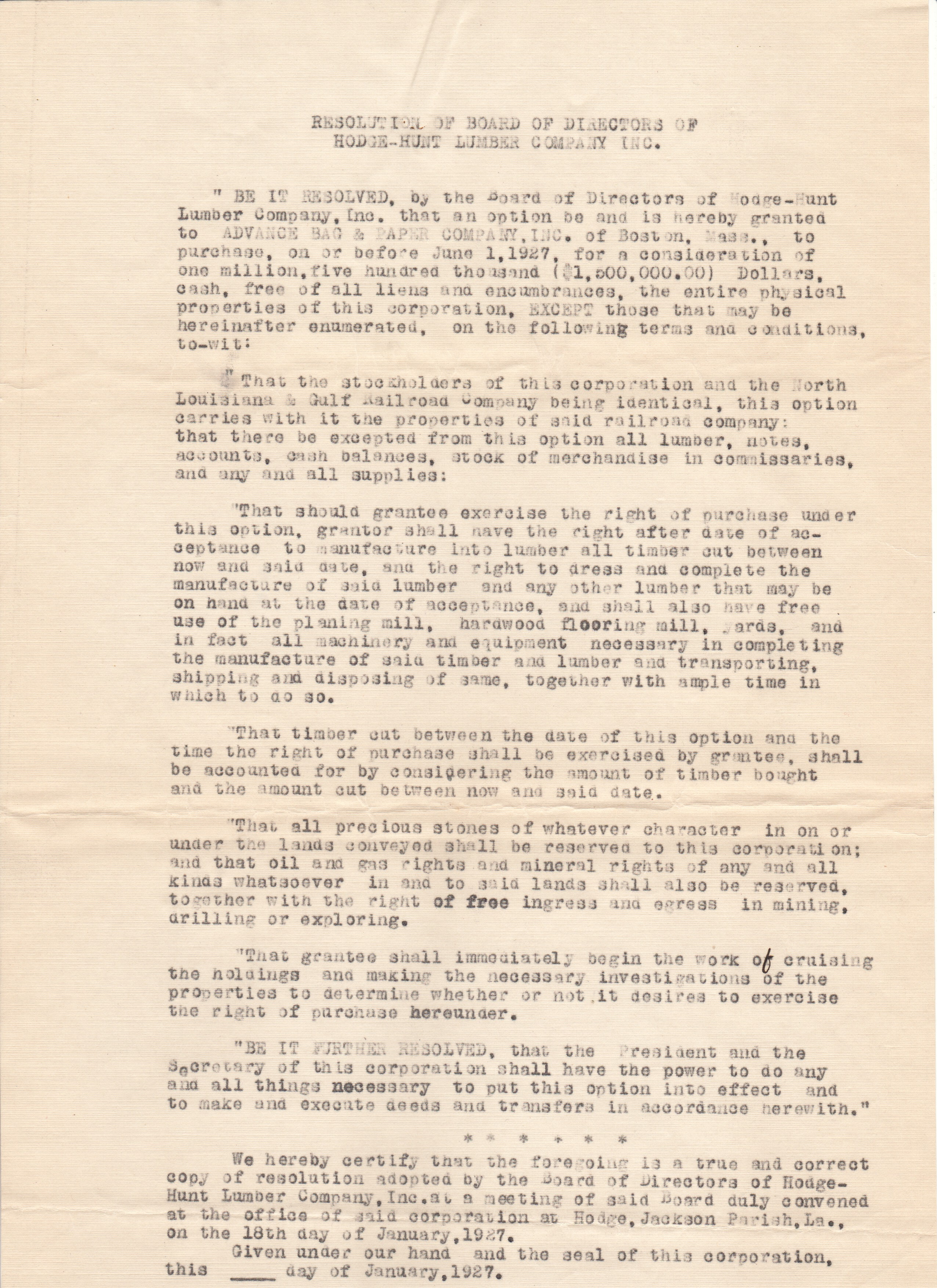 H-H Resolution to Sell A (1927)