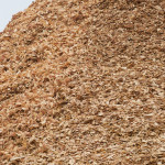 Close-up of chip pile