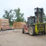 Forklift in lumber yard