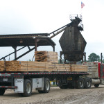 Finished lumber leaving mill