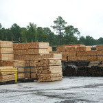 Stacks of landscaping timbers