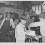 Frank C. Stewart, center, receives gift on retirement from Southern Advance Bag & Paper, Hodge, La. (1958).